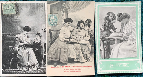 Mothers reading to children on Early 1900s French Postcards (38)