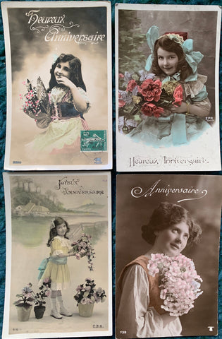 Happy Birthday with Flowers and Little girls on 4 circa 1911 French Postcards   (20)