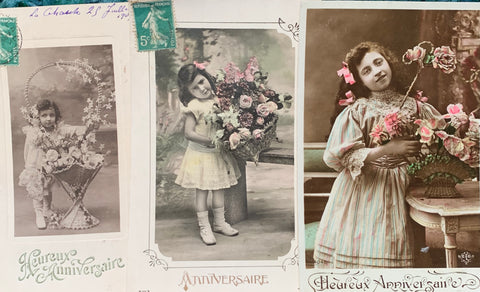 3 Delightful Happy Birthday  French Postcards circa 1909. (21)