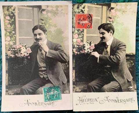 2 Marvellous Moustaches on 1911 French Postcards  with Birthday Greetings. (23)