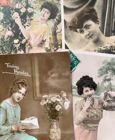 Impressive hairstyles on 4 French Postcards circa 1908  (47)