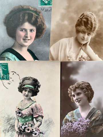 Hairstyles 1910 - 1919 on 4 French Postcards circa 1908  (48)