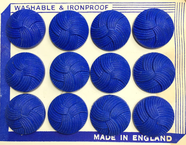 1940s Bright Blue 2.3cm Interlocking Thread Buttons -12 on Display Card- Made in England
