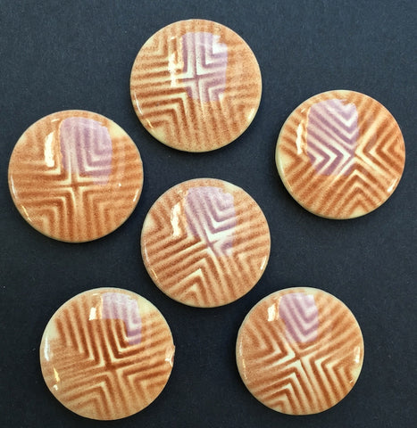 6 Vintage Brown 1960s Italian Geometric Buttons - 2cm or 1.5cm