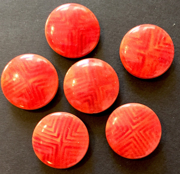 6 Vintage 1960s Italian Dusky Red  Buttons 2cm or 1.5cm