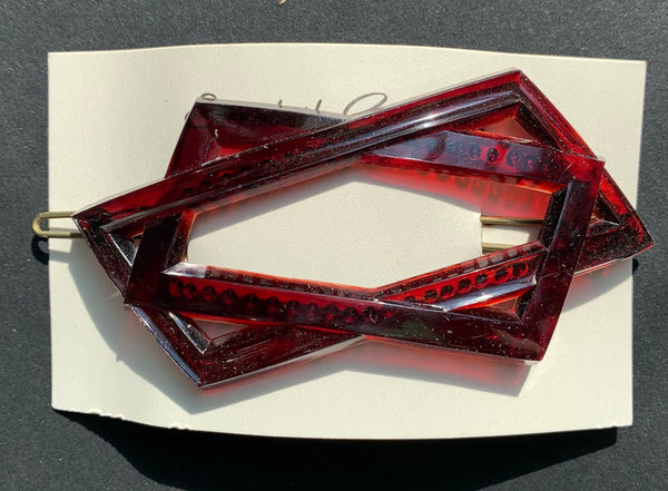 Wonderfully Modernist Vintage Lucite Hair Clips