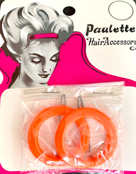 Gloriously Colourful Big Round 1960s Hair clips