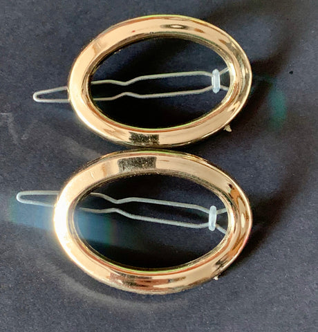 Pair of Shimmery Gold Oval 1960s Hair Clips -5cm