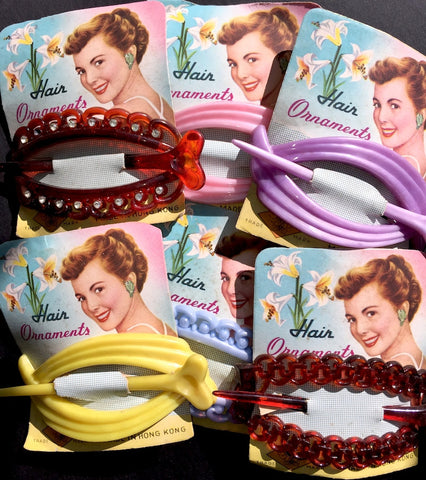 Gorgeous Vintage 1950s Hair Barrettes ... Choice Colour and Design
