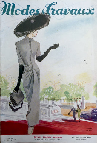Pierre Pages Illustration on Cover of 1947 French Fashion Paper Modes & Travaux