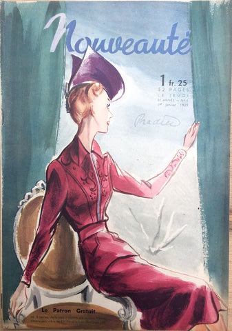 January 1939 Gorgeous Fashions Illustrations in Nouveaute THO-RADIA advert