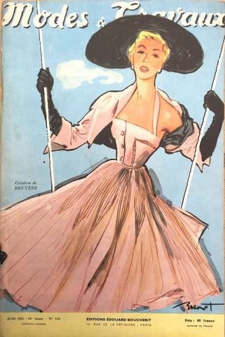 Lovely Brenot Illustration on Cover of 1952 French Fashion Paper Modes & Travaux