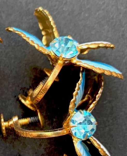 Delicate Vintage Austrian Crystal Blue and Yellow Clip-On Earrings