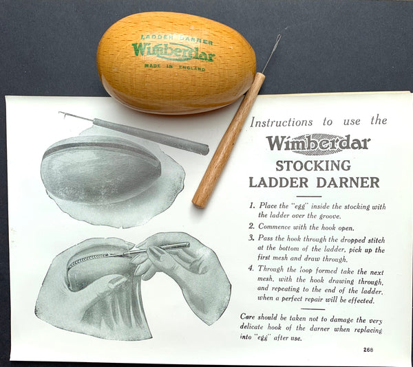 Unused 1930s Darning Egg with Hook AND Instructions ..Made in England