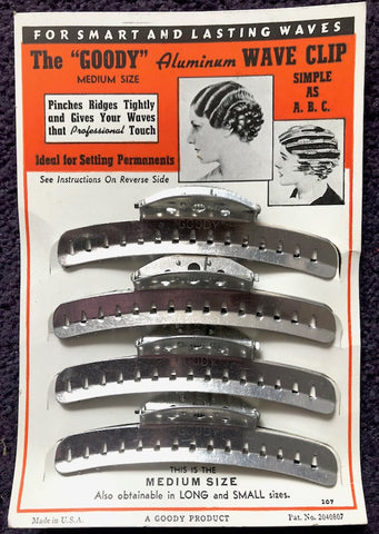"1930's  ""GOODY"" Aluminium Wave Hair Clips Set of 4 Size Medium 4"""