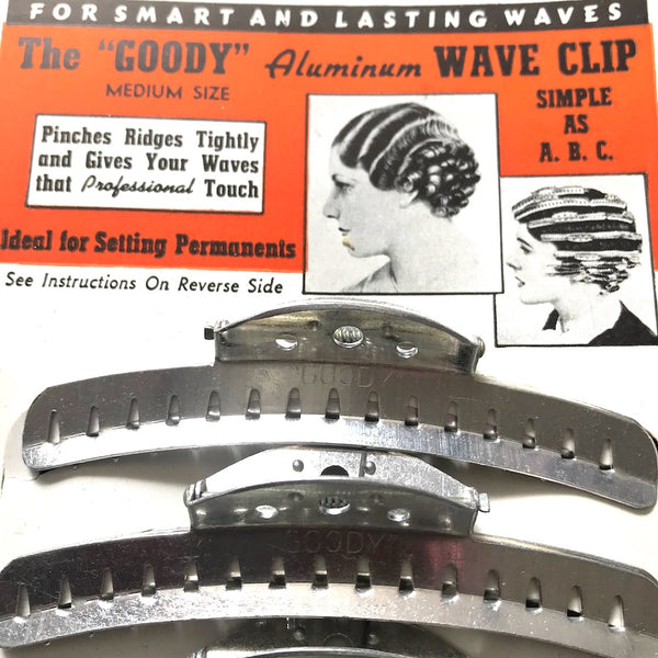 "1930's  ""GOODY"" Aluminium Wave Hair Clips Set of 4 Size Medium 4"" or Large 4.8"""
