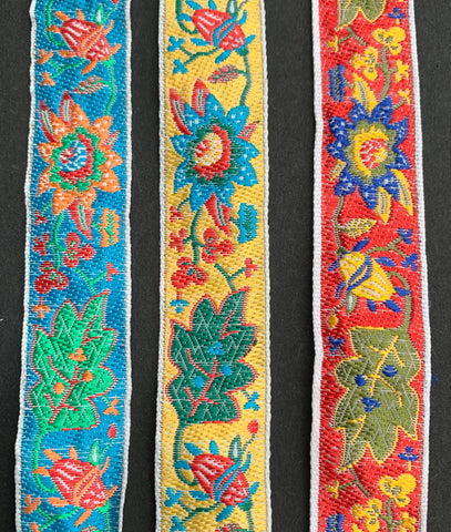 Vibrant Vintage Leaf and Flower Trim 2cm wide - Choice of colours