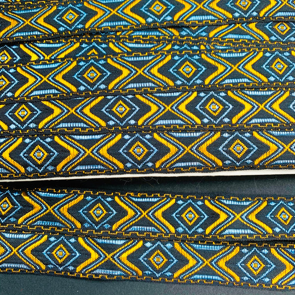 Exciting Gold,  Blue and Black 2.3cm Vintage Trim