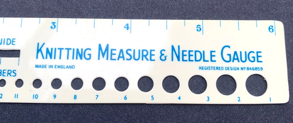 Vintage Knitting Measure & Needle Gauge Made in England