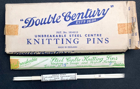 "1920s Set of 4 UNBREAKABLE STEEL CENTRE Knitting Pins 7""  Gauge 13 Made in England"