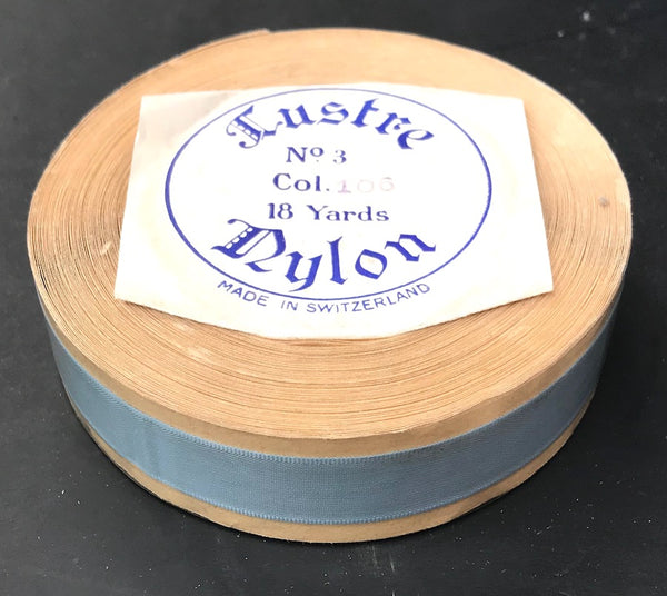Calm Blue-Grey Vintage Swiss 15mm Lustre Nylon Ribbon - 18 yd roll.