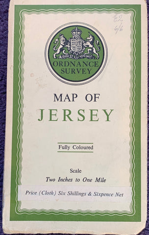1930s Cloth Backed Ordnance Survey Map of Jersey