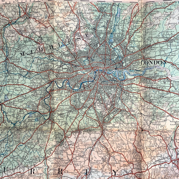 Fascinating 1920s ORDNANCE SURVEY Contoured MAP of England South-East & London - 1/4 Inch to 1 Mile