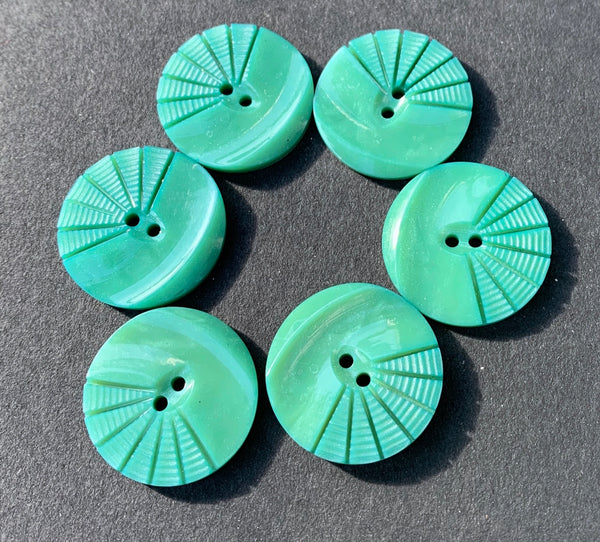 Vintage Fern Green Moulded and Carved 1.8cm or 2.3cm Buttons