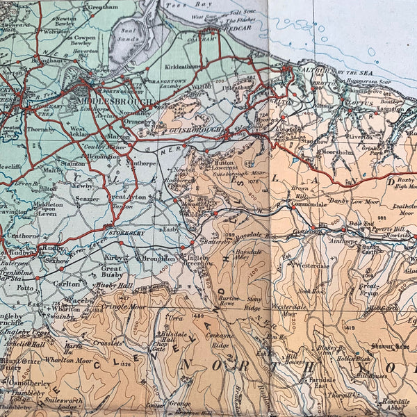 Detailed 1920s ORDNANCE SURVEY Contoured MAP of England North East - 1/4 Inch to 1 Mile