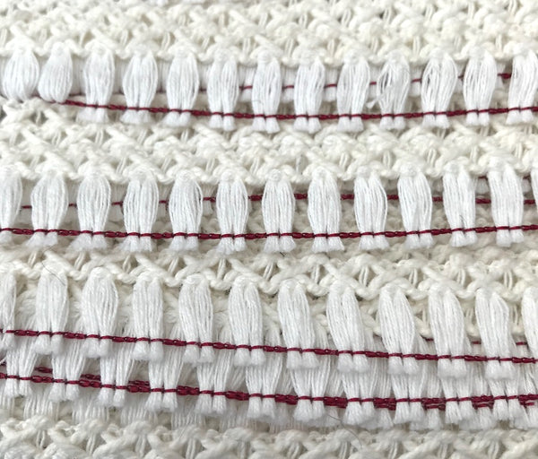 36 yds Vintage White + Maroon Tassel 2cm Trim - Made in England