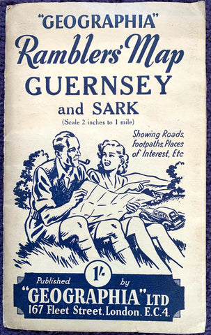 1940s GEOGRAPHIA Rambler's Map of GUERNSEY and SARK