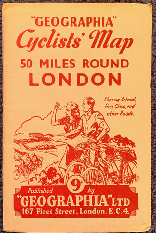 1942 – 1944 Cyclists' Map of 50 MILES ROUND LONDON