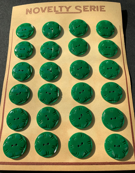 Squared Circle Pine Green Vintage 2cm Buttons