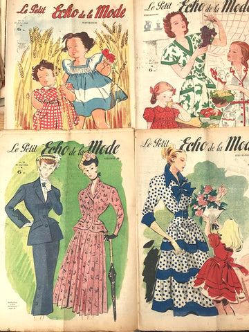 4 Copies of 1948 French Fashion Paper Le Petit Echo de la Mode