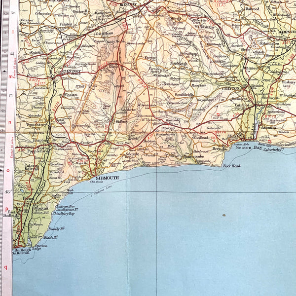 1940/50s Map of Dorset and surrounding Area incl. Shaftesbury, Lyme Regis, Sidmouth, Taunton