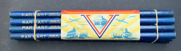 1940s Wartime CEDAR WOOD Blue PENCILS with Tanks and Planes - Bundle of 12