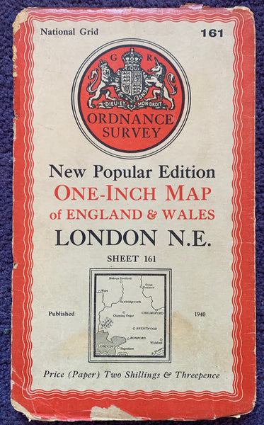 "Very Interesting  1950s and 60s ORDNANCE SURVEY MAPs of N.E LONDON into Hertfordshire & Essex 1"" to 1 Mile"