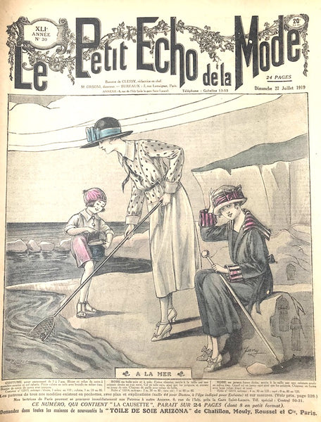 Delightful 1919  Beach Scene on cover of July edition of French Womens Paper Le Petit Echo de la Mode