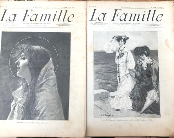 2 Editions of August 1905 French Womens Magazine La Famille