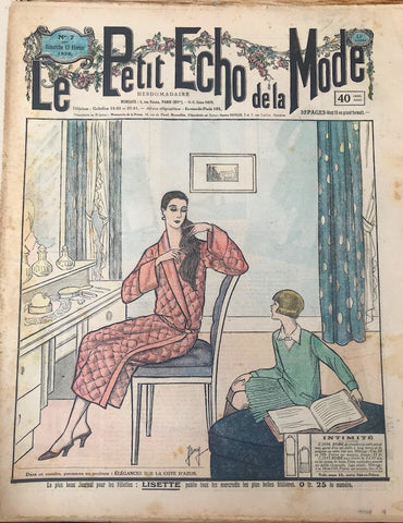 Mother & Daughter on cover of February 1929 French Fashion Paper Le Petit Echo de la Mode