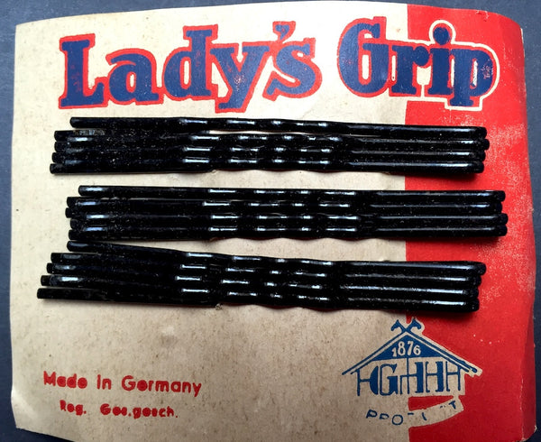 12 Black 7cm Lady's Grip -Made in 1930s Germany - Mint on Original Card