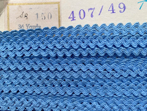 36 yds of 2.5mm wide Vintage French Blue Ric Rac