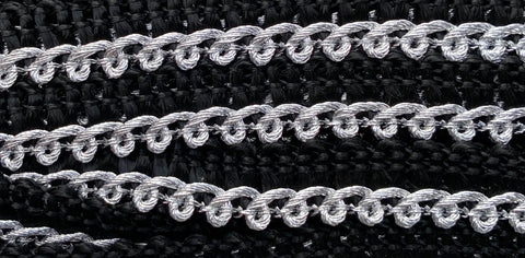 25m Vintage Sparkly Silver & Black Trim - 1cm wide..Huge Decorating Potential..