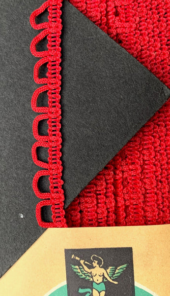 36yds Quietly Dramatic Looped Red Vintage Trim -1cm wide - Made in England