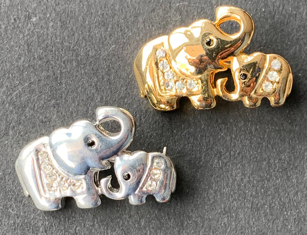 Sweet Little 1960s Mother and Baby Elephants Brooch