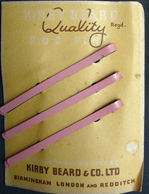 Choice of 5 Colours -1940s Kirby Beard 7cm Hair Slides on ORIGINAL Packaging