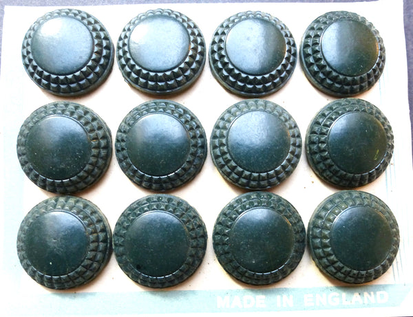 12 English 1940s Teal Green Bakelite Buttons- 2.2cm