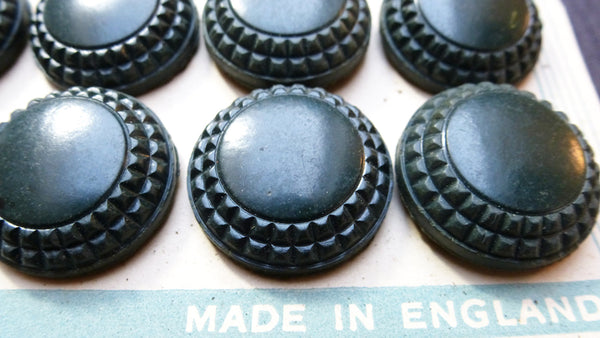 English 1940s Dark Teal Blue Bakelite 2.2cm Buttons- 12 on a card