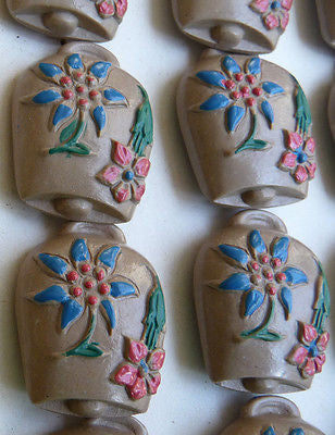 24 Vintage Italian Buttons - Cowbells with Edelweiss - 10 colours