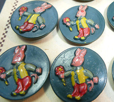 24 Sweet Vintage Dressed Rabbit + Flowers Buttons - Italian